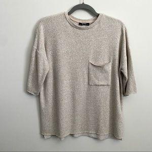 Zara Beige Baggy Boxy T Shirt Front Pocket